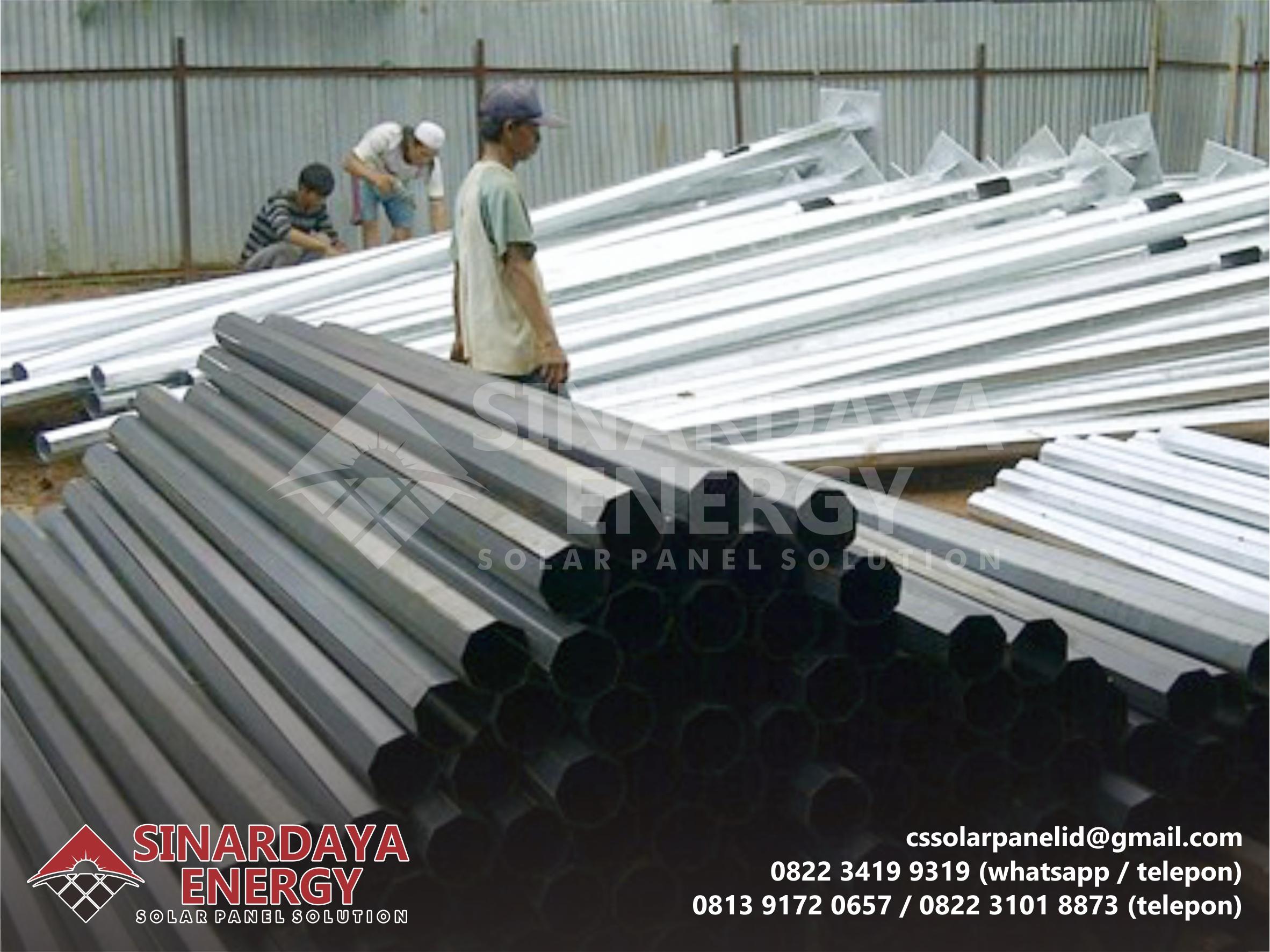 Pabrikasi Tiang PJU Galvanis 8 Meter Oktagonal Sumatera Tengah