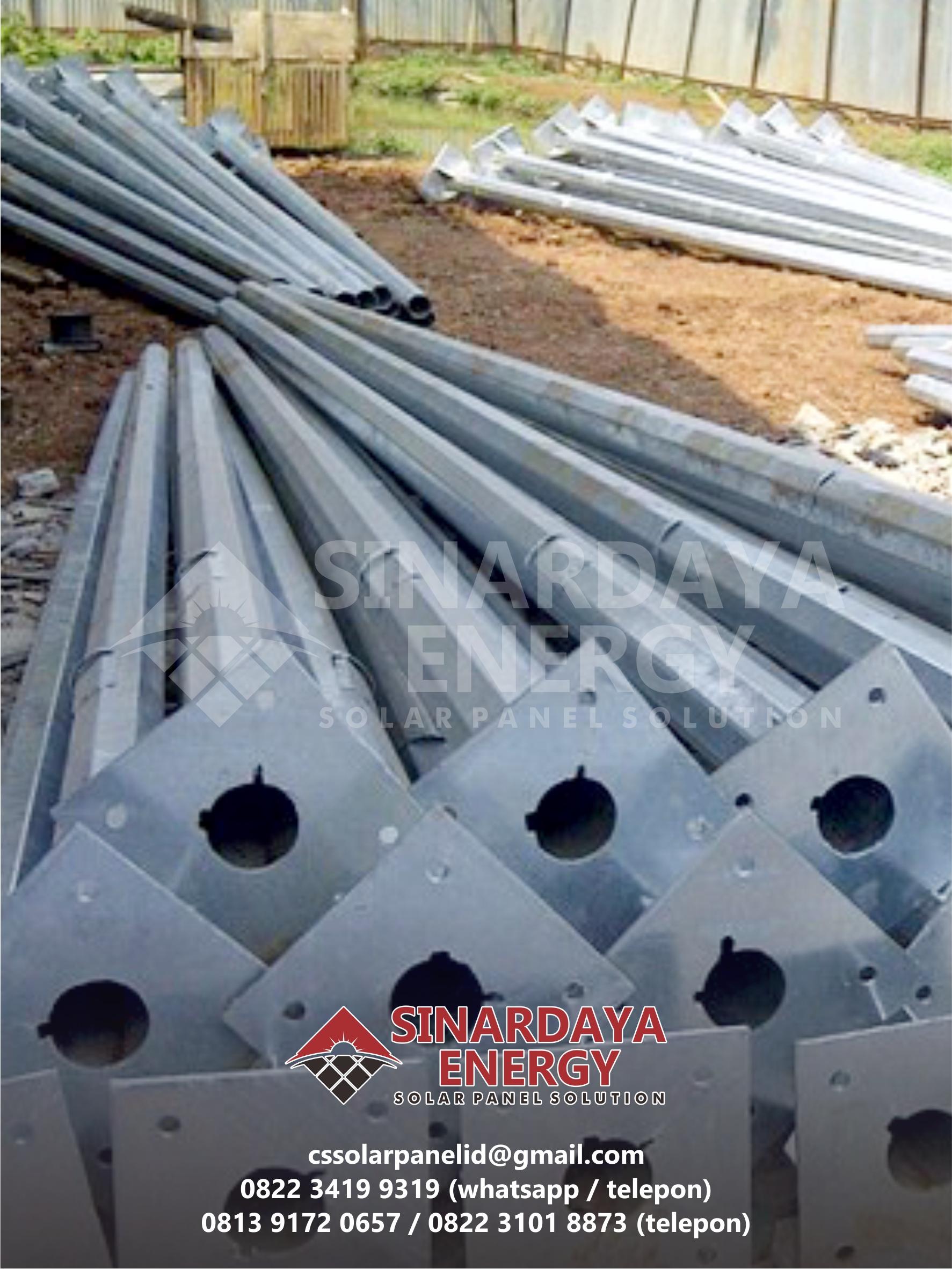 Pabrikasi Tiang PJU Galvanis 8 Meter Oktagonal