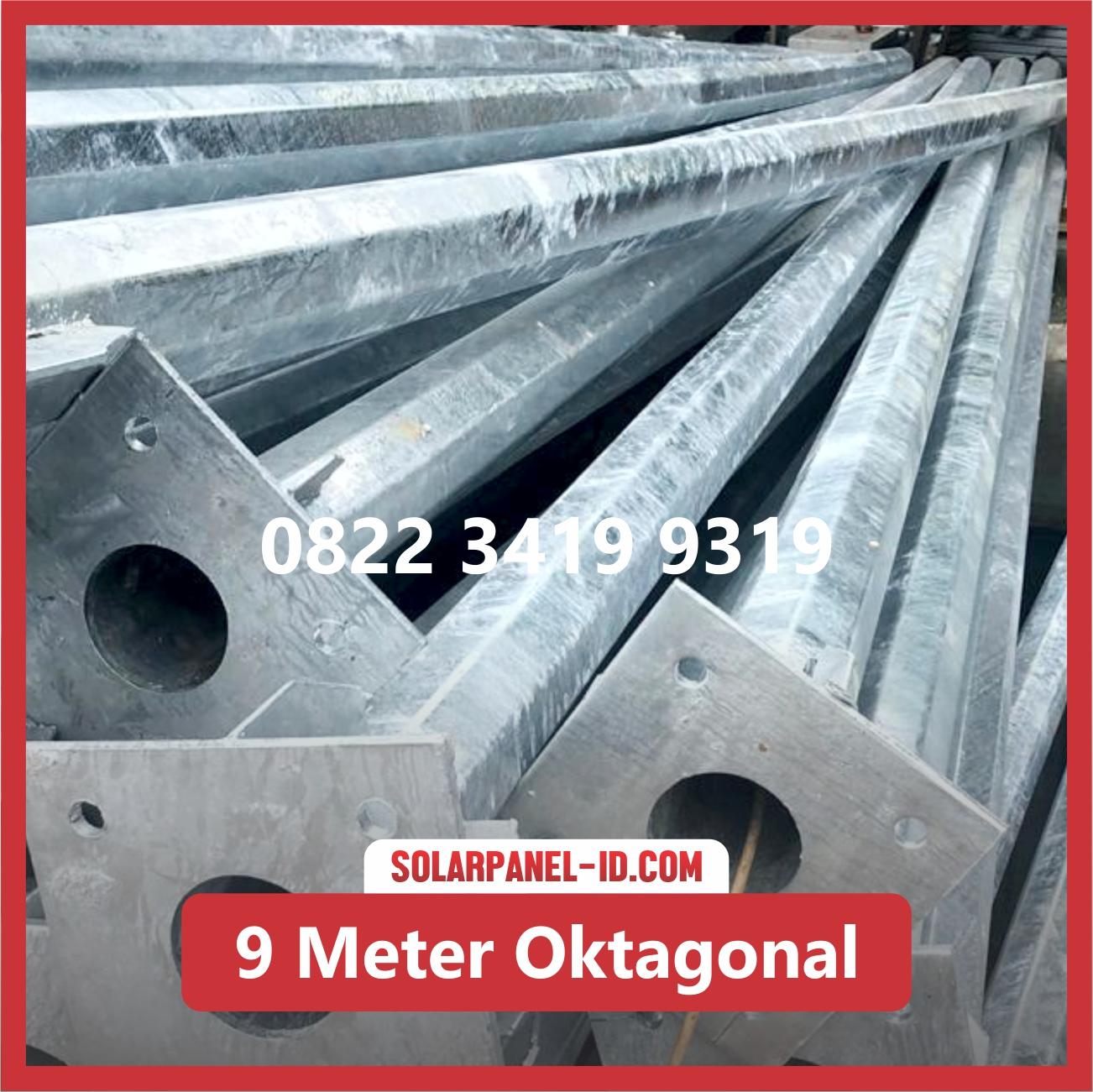 Tiang PJU Tenaga Surya 9 Meter Single Oktagonal