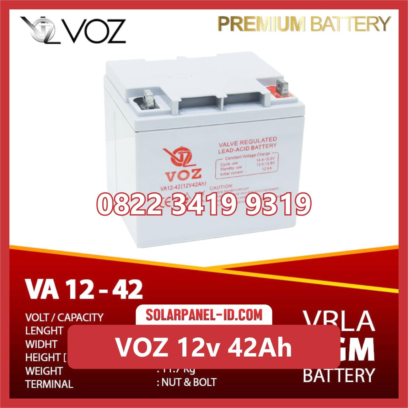 VOZ baterai kering 12v 42Ah baterai solarcell