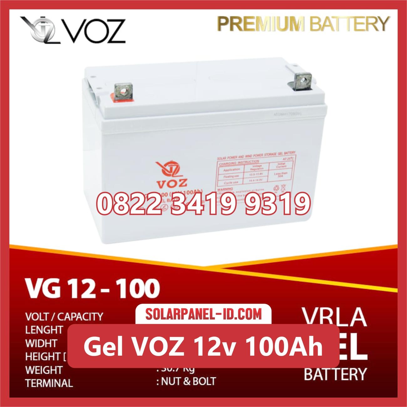 VOZ baterai kering gel 12v 100ah baterai pju tenaga surya