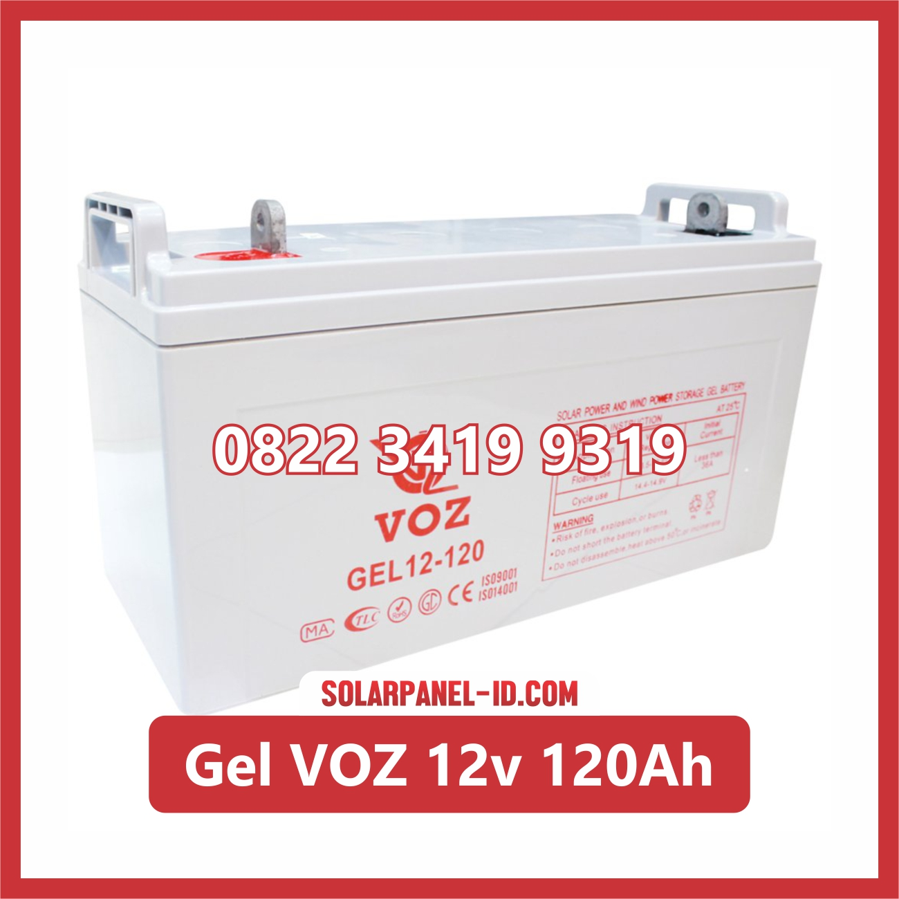 Aki Solar Cell Deep Cycle GEL VOZ 12v 120Ah