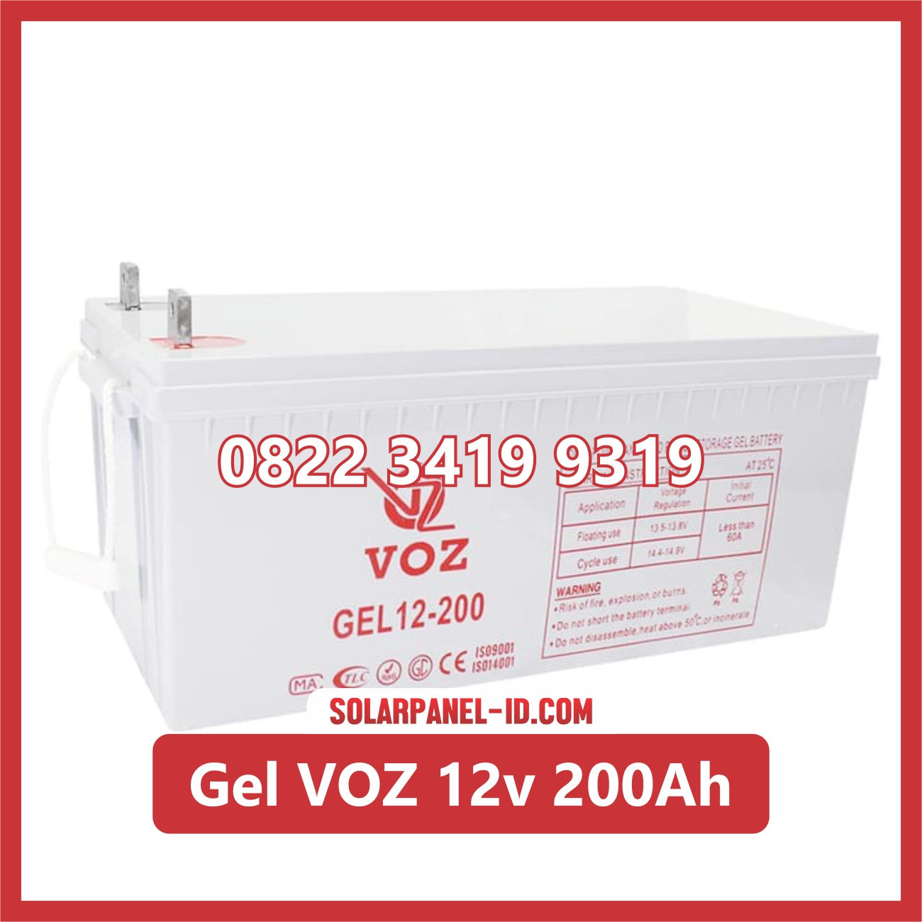 Aki Solar Cell Deep Cycle GEL VOZ 12v 200Ah