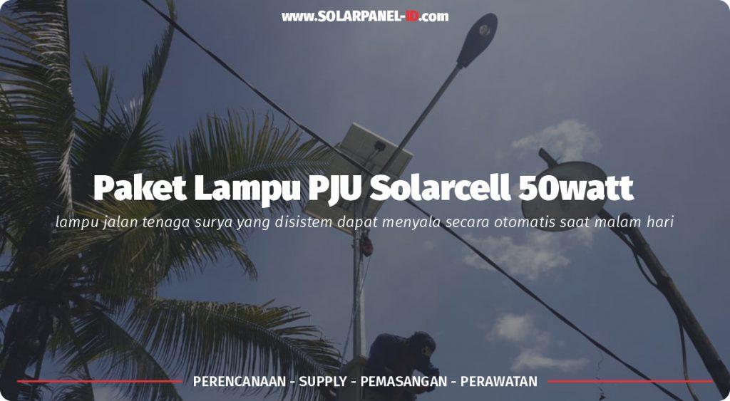 jual pju solarcell 50watt satu set murah