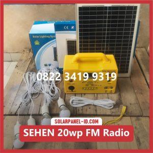 harga sistem solar lampu sehen 20wp fm radio