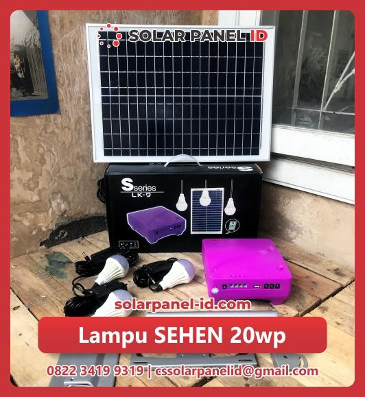 jual lampu sehen 20wp solarcell satu set murah