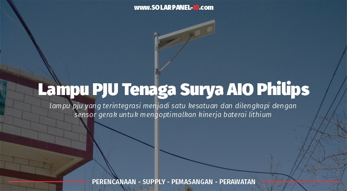 jual pju tenaga surya all in one philips 100 watt murah