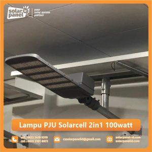 jual lampu pju solarcell 2in1 100 watt satu set