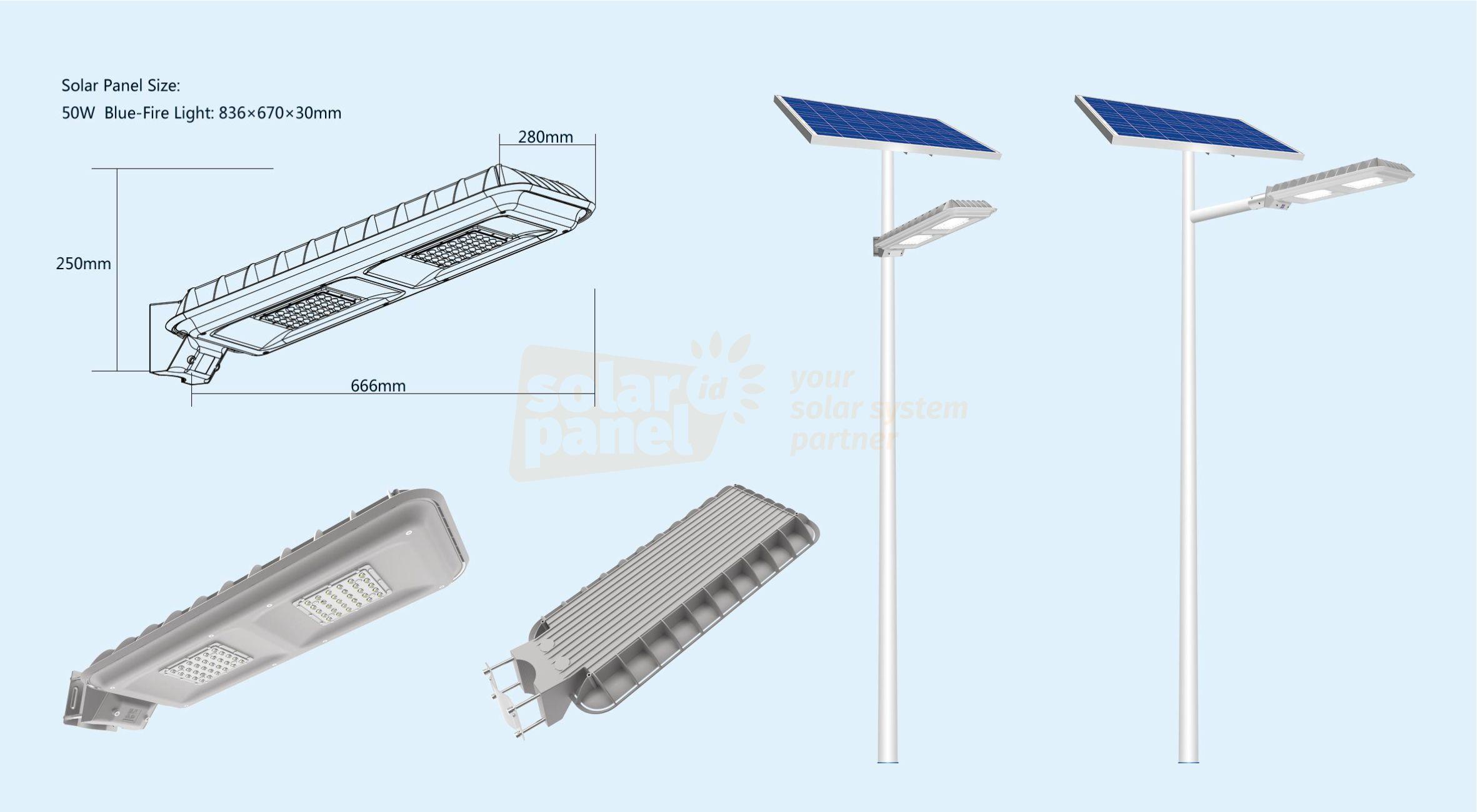 jual paket lampu pju 2in1 solarcell bluefire light 50 watt satu set